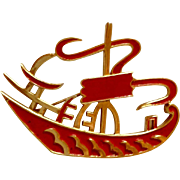 Trifari Asian Red Enamel Boat