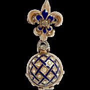 Coro Cobalt Blue Enamel Photo Locket Pin