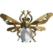 Trifari Winged Fly Pearl Belly Pin