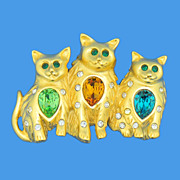 Three Pretty Kitties Figural  Pin - Bob Mackie