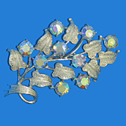 Coro Silver Aurora Borealis Flower Spray Pin