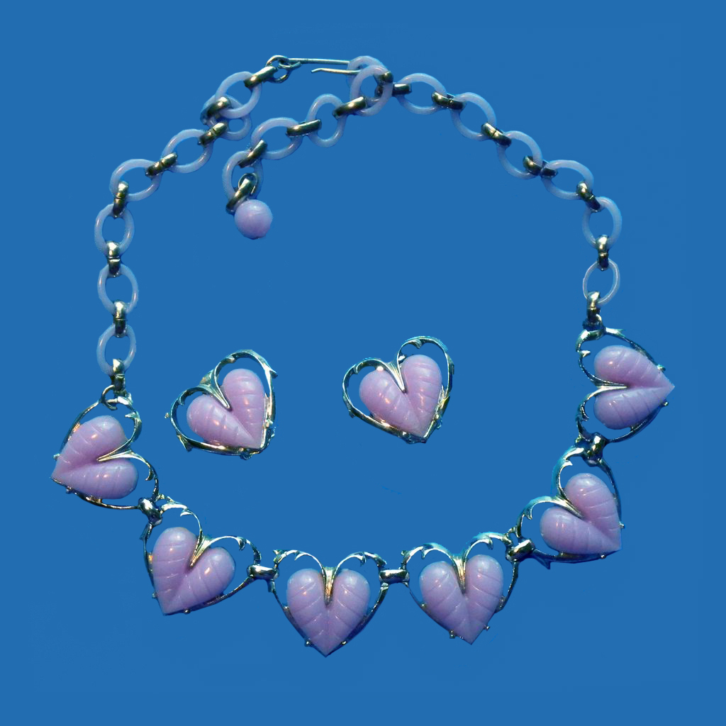 Coro Lavender Heart Necklace & Earrings