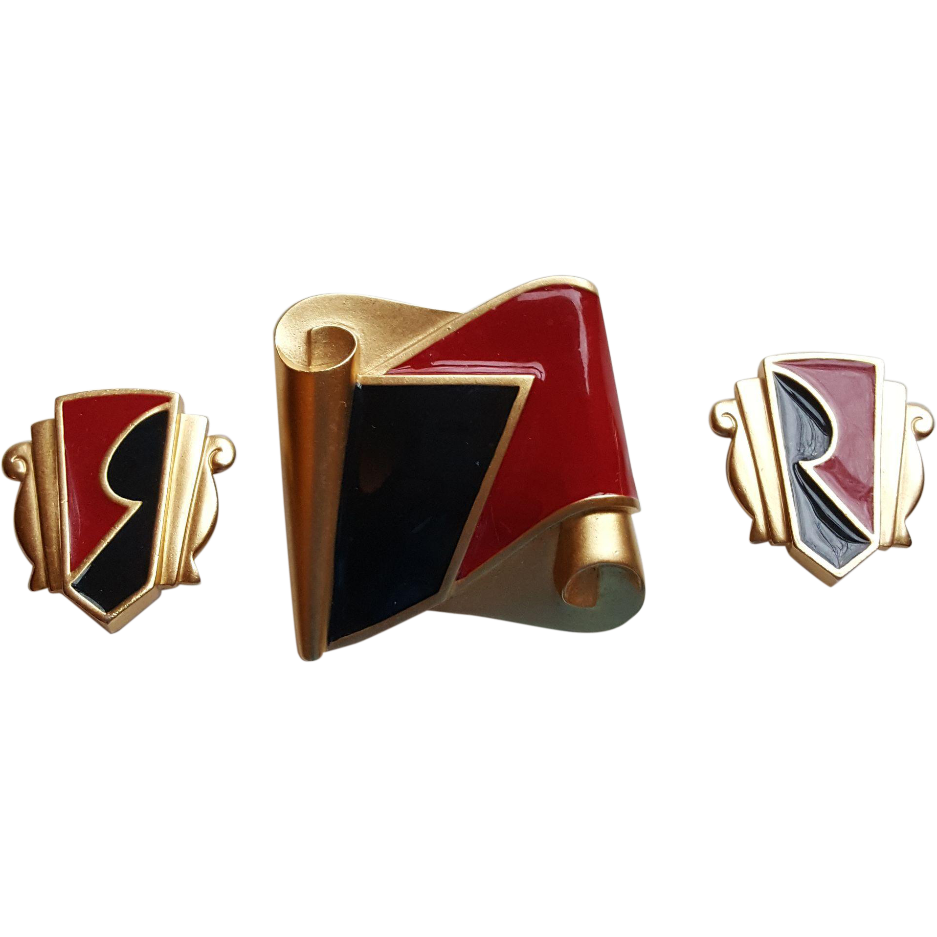 Monet Black & Red Abstract Set