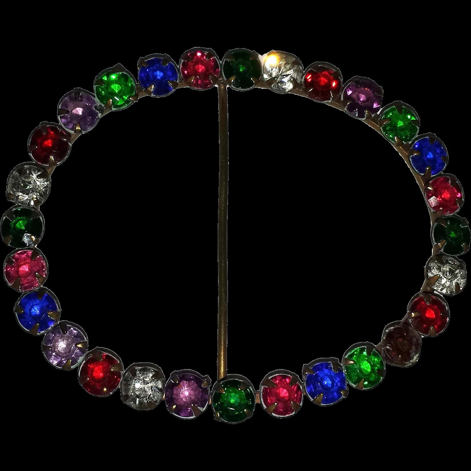 Multi-Colored Rhinestone Art Deco Sash Belt Pin