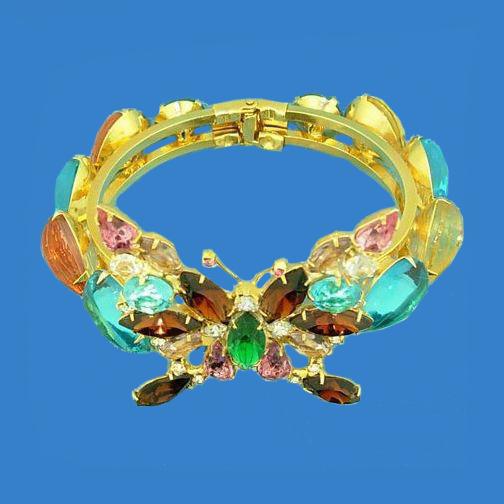 Jeweled Rhinestone Figural Butterfly Bracelet