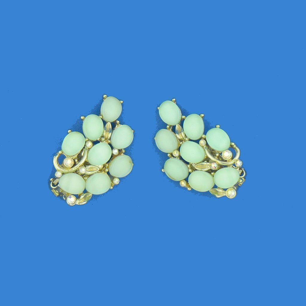 Vintage Kramer Green Moonglow Earrings