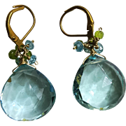 Sky Blue Hydro Quartz Briolette Waterfall Earrings