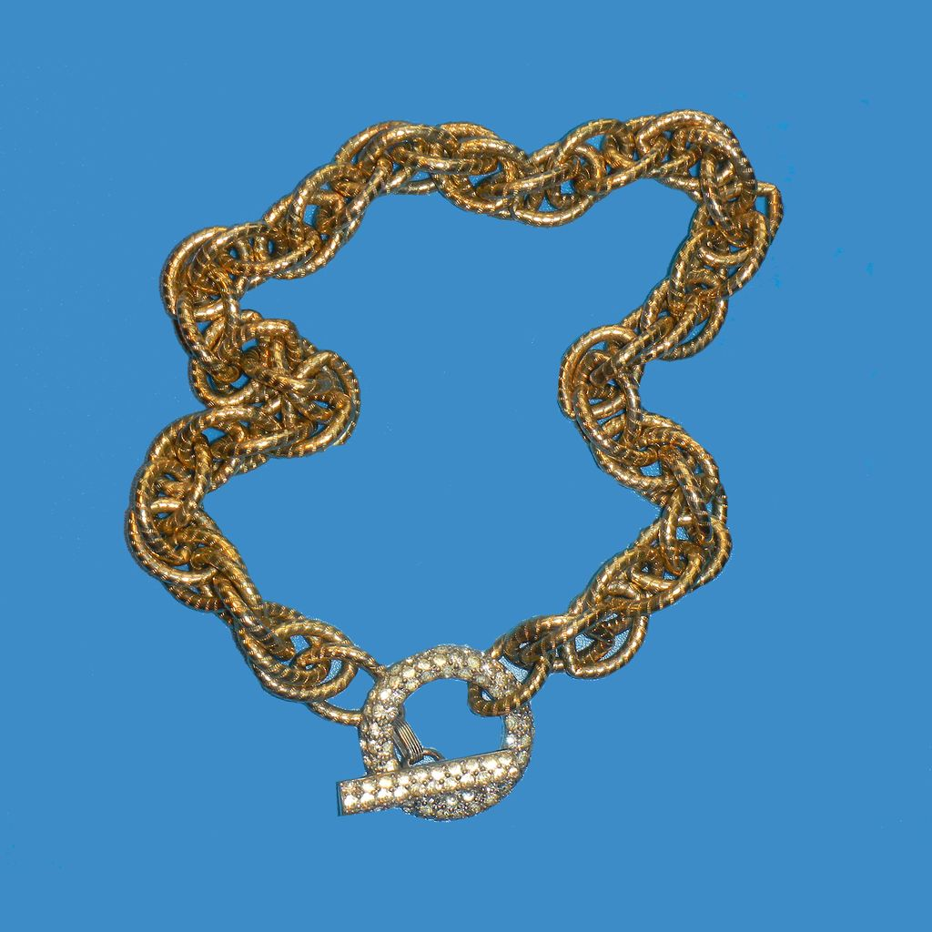 Unusual Chunky Chain Necklace with Rhinestone Toggle
