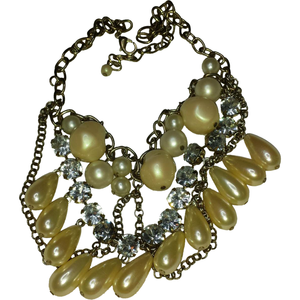 Faux Pearl & Rhinestone Festoon Necklace