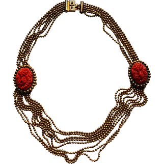 Art Deco Brass Ball Bead & Coral Glass Necklace