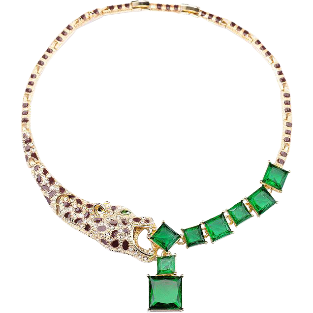 Stunning Leopard Enamel & Green Rhinestone Necklace