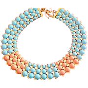 Coral & Blue Bead Necklace
