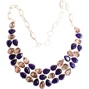 Champagne & Cobalt Blue Rhinestone Necklace