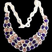 Champagne & Cobalt Blue Rhinestone Necklace
