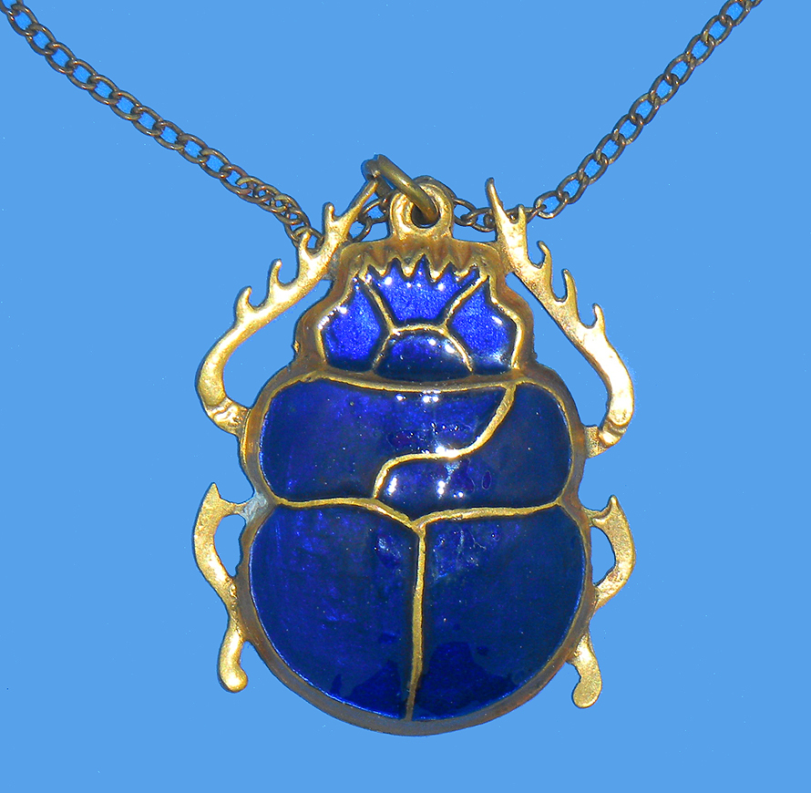 1920s Egyptian Revival Blue Cobalt Scarab Beetle Necklace ...