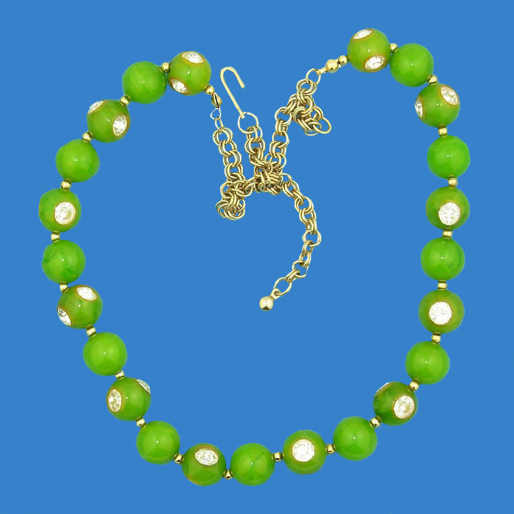 Sweet Pea Green Bakelite & Rhinestone Necklace