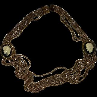 Art Deco Brass Ball Bead & Cameo Necklace