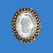 Faux Pearl & Rhinestone Framed Glass Intaglio Cameo