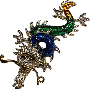 Figural Blue & Green Enamel Dragon Pin