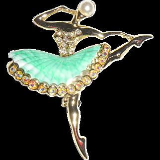 Dancing Ballerina Plastic Skirt Figural Pin
