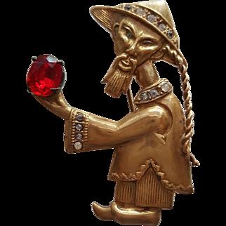 Chinaman Holding a Gem Figural Pin
