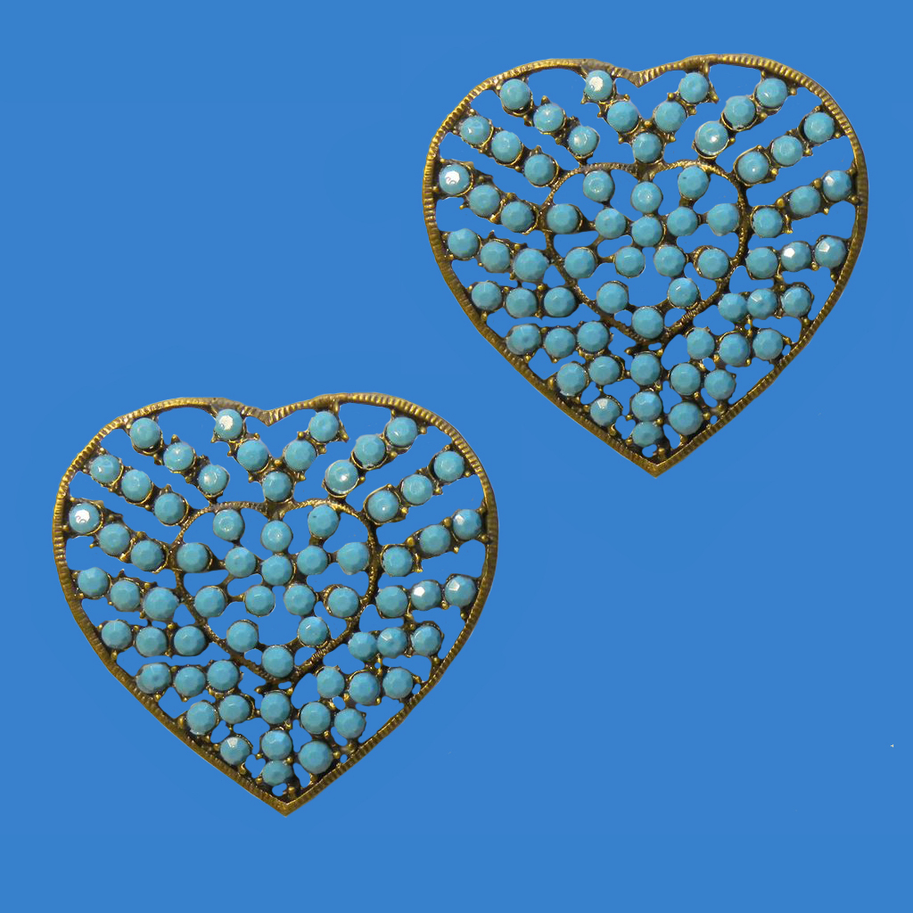 Two Faux Turquoise Hearts