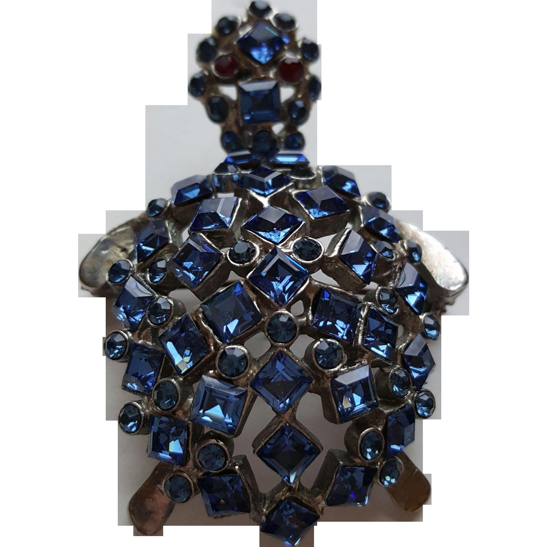 Blue Rhinestone Turtle Pin