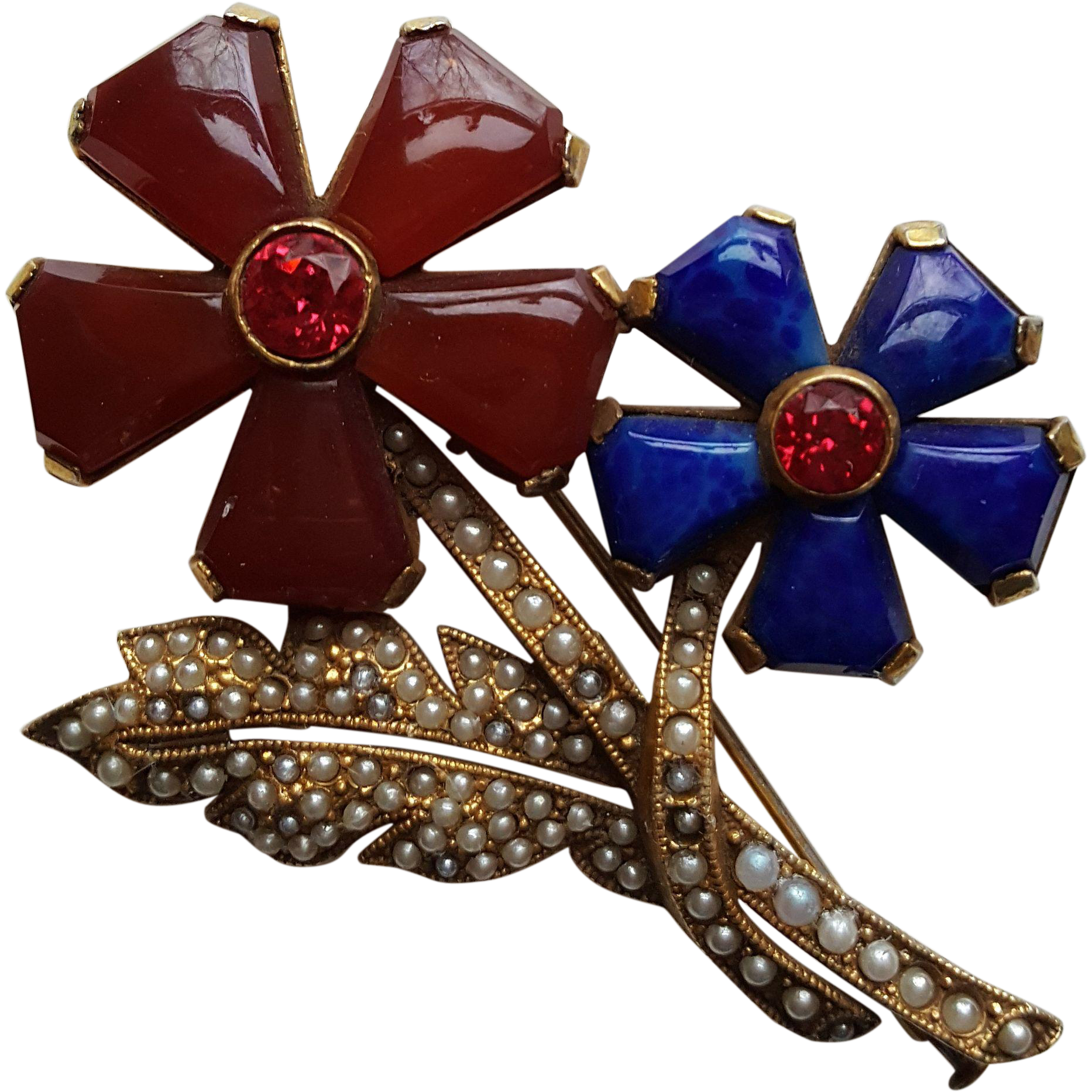 Vintage Red and Blue Flower Pin