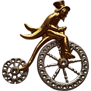 Vintage Man Riding Bicycle Pin