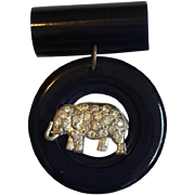 Navy Blue Celluloid Pin with Elephant