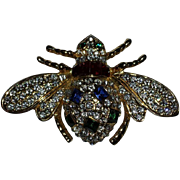 Red Blue Green Rhinestone Fly Pin