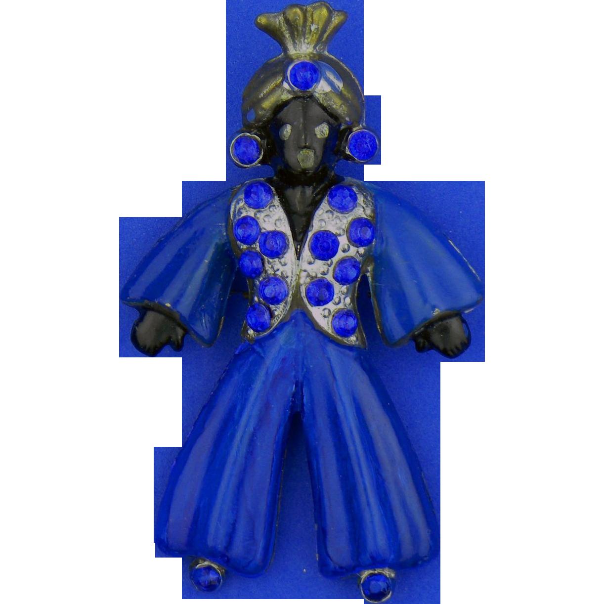 Blackamoor Genie Pin - Blue Rhinestones