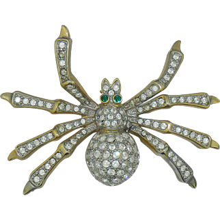 Sparkling Rhinestone Spider Pin