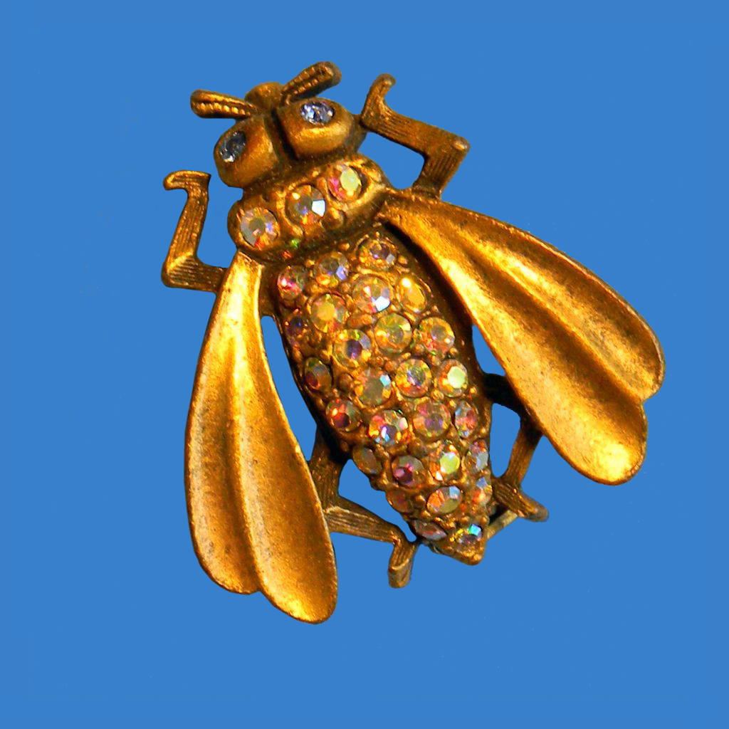Golden Fly Figural Pin Aurora Borealis