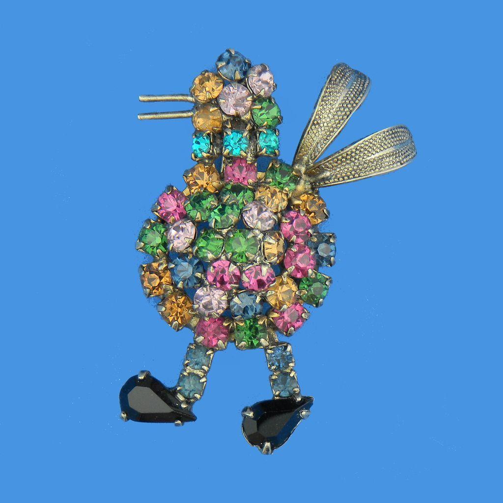 Multi-Colored Rhinestone Filled Bird Figural Pin
