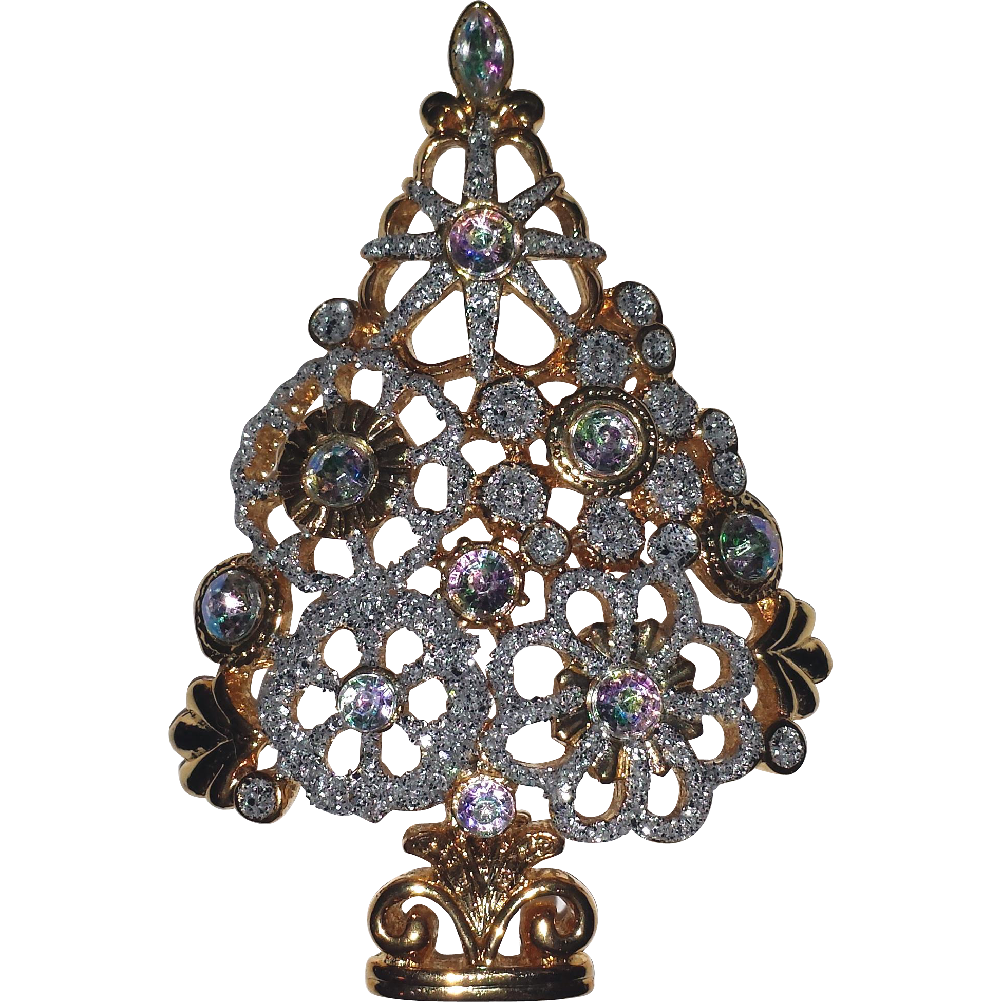 Sparkling Vintage Christmas Tree Pin
