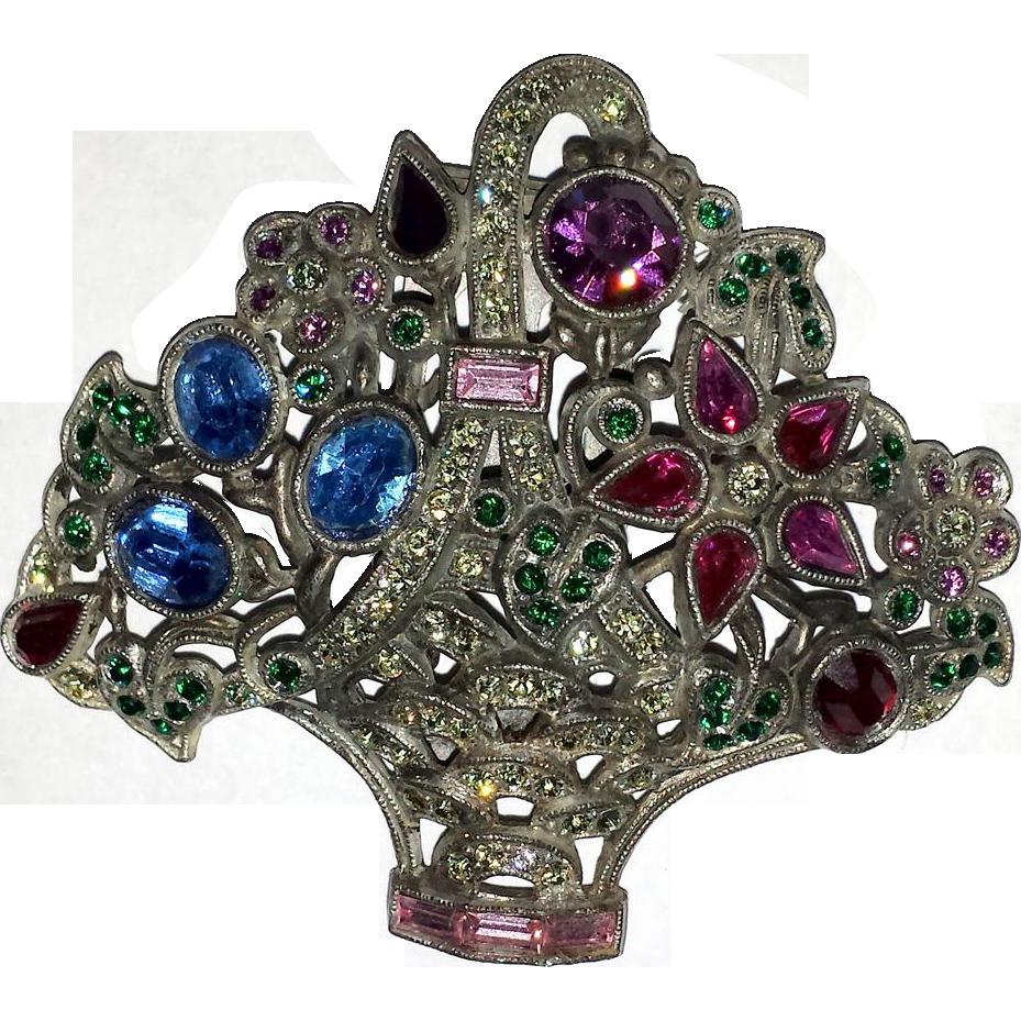Vintage Rhinestone Flower Basket Fur Clip