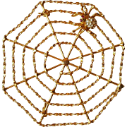 Rhinestone Spider in Web Figural Pin