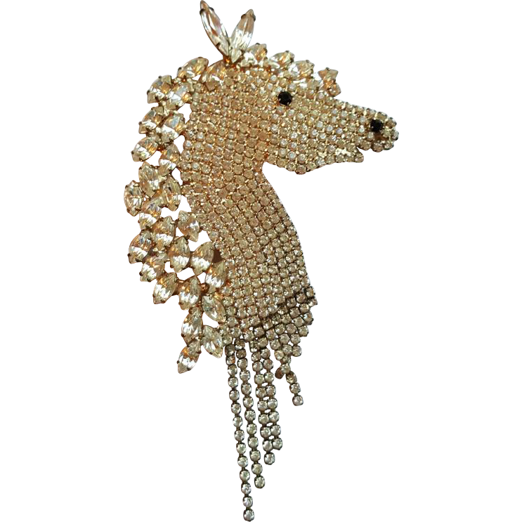 Rhinestone Horse Head Pin