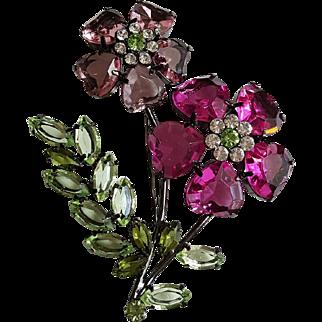 Multi-Colored Lucite Petals Flower Pin