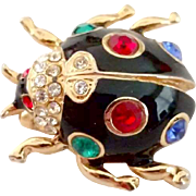 Multi-Colored Rhinestone Black Bug Pin