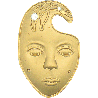 Goldtone Face Pin