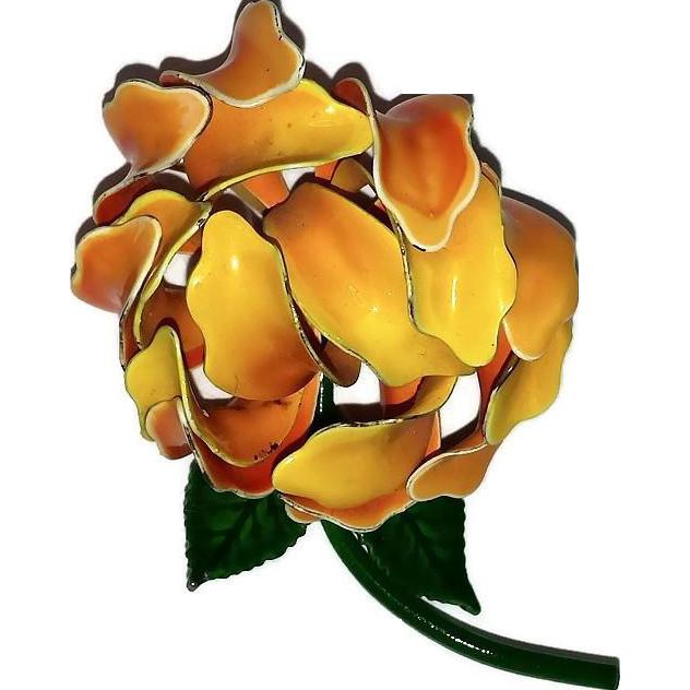 Yellow & Orange Enamel Flower Pin