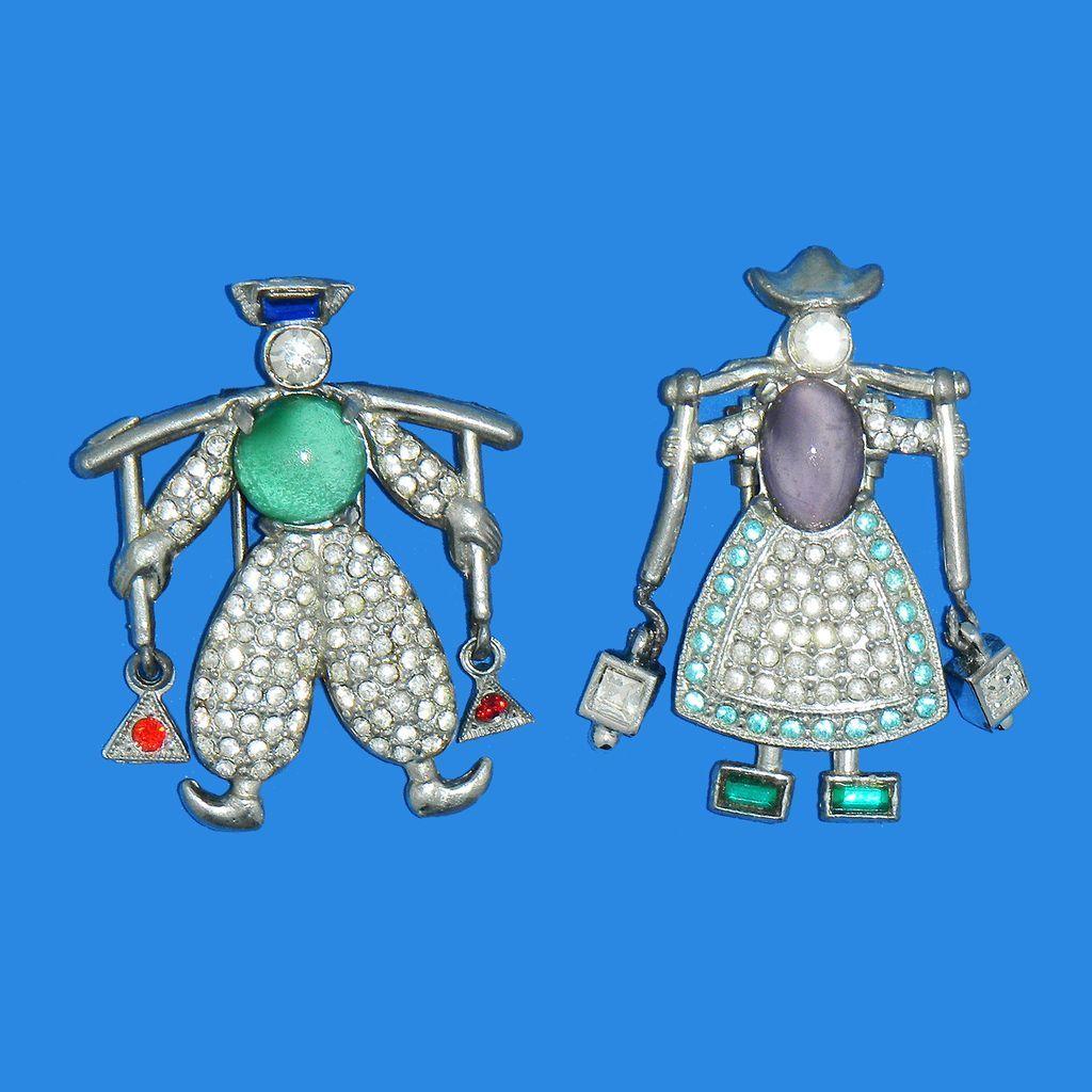 Adorable Jack & Jill Dutch Figural Fur Clips