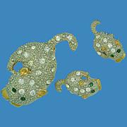 Cute Rhinestone Cat Pin & Earring Set