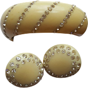 ThermoPlastic/Celluloid Ivory Bracelet & Earring Set