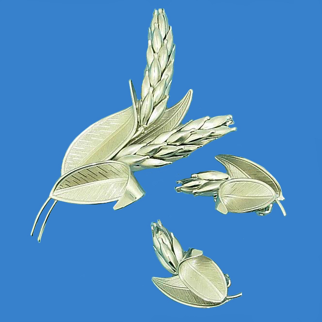 Silver Tone Wheat Shaft Pin & Earrings