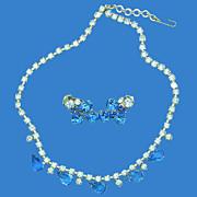 Light Blue & Sapphire Blue Necklace & Earrings