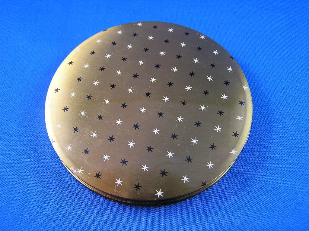 Vintage Vogue Compact Gold with Black and White Stars