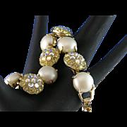 Stunning Vintage Aurora Borealis Rhinestone & Faux Pearl Bracelet